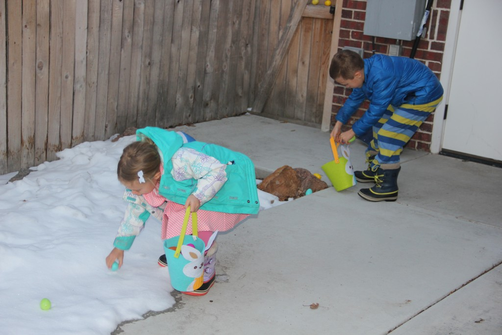 Some highly focused Easter Egg hunting on a cold Easter morning