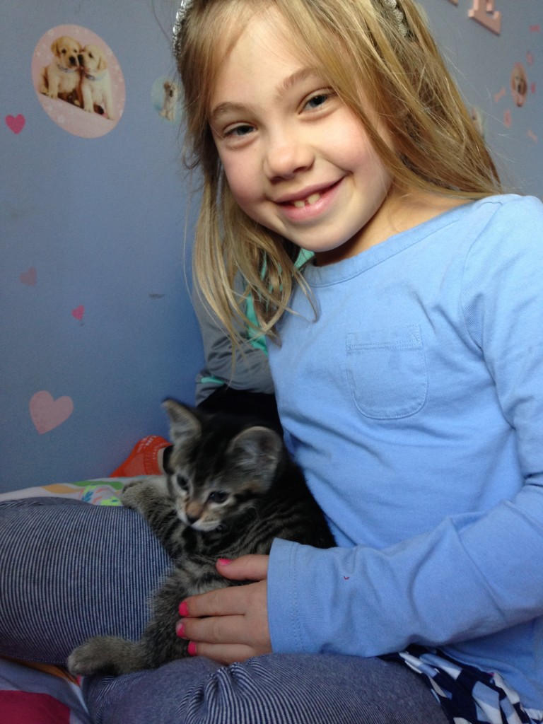 Anna with one of the new kittens