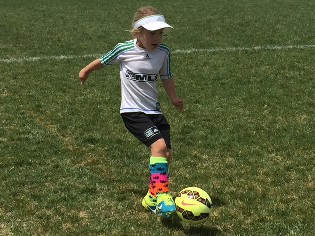 Anna showing her kicking style during her last game of the season