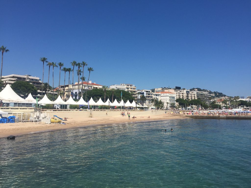 At the beach in Cannes on the French Riviera