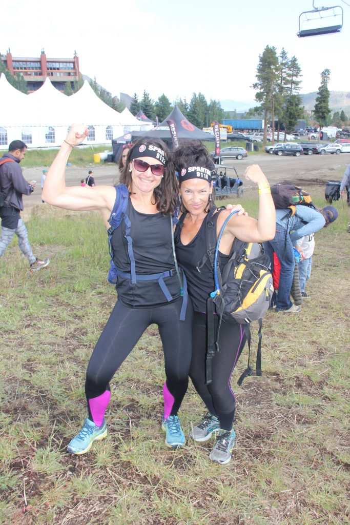 Marcy and Tina flexing their muscles before setting out to tackle the Beast