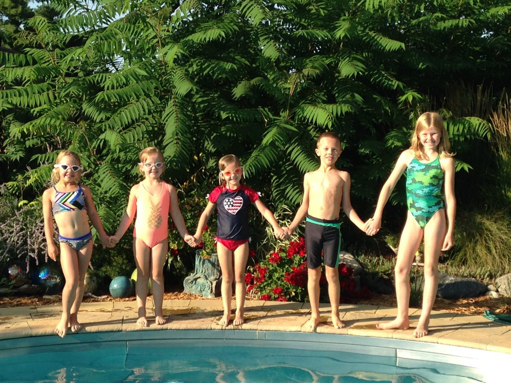 The five cousins are in the pool every day