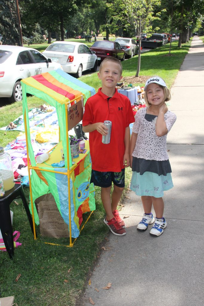 The lemonade stand and toy sale