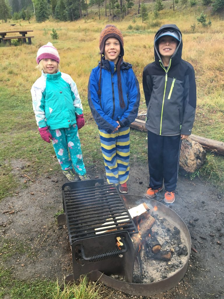 Anna, Jude and Santi loved helping with the campfire