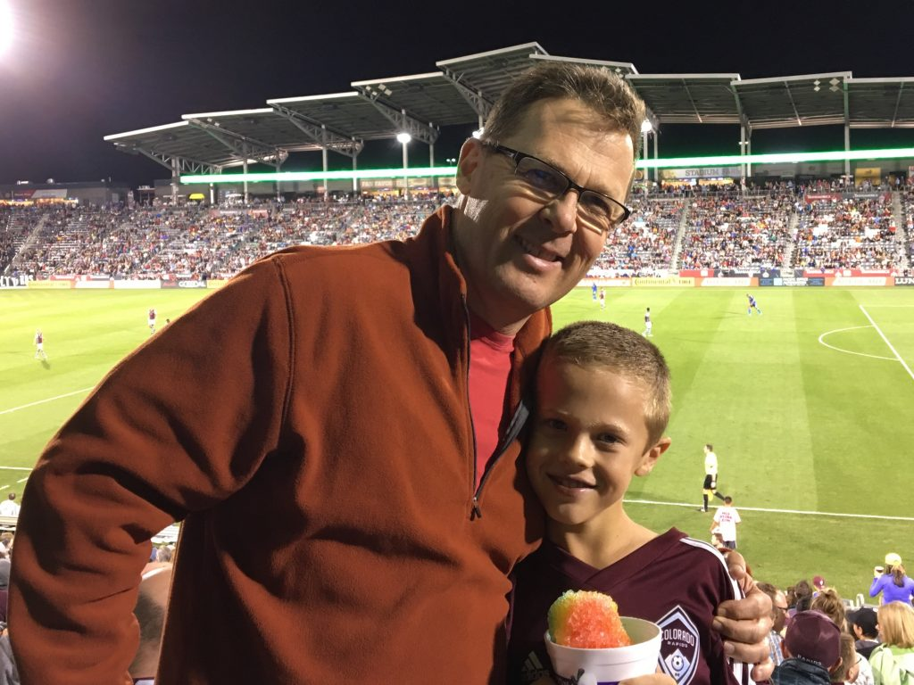 At the Colorado Rapids soccer game with Jude