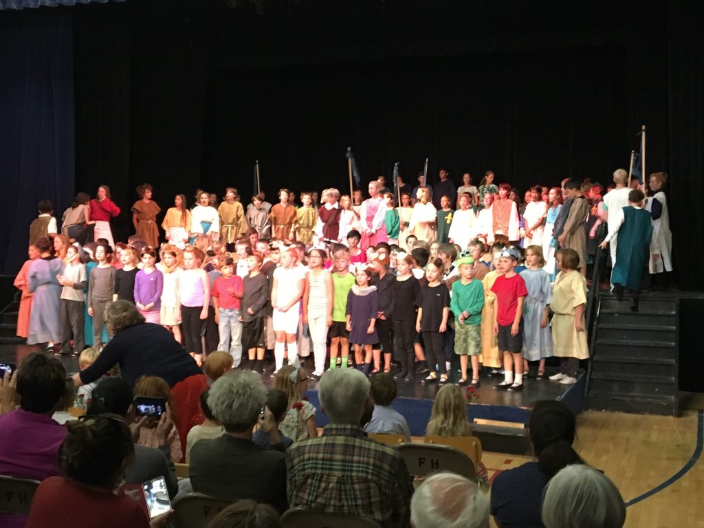 At the end of the school Michaelmas play singing the chorus together