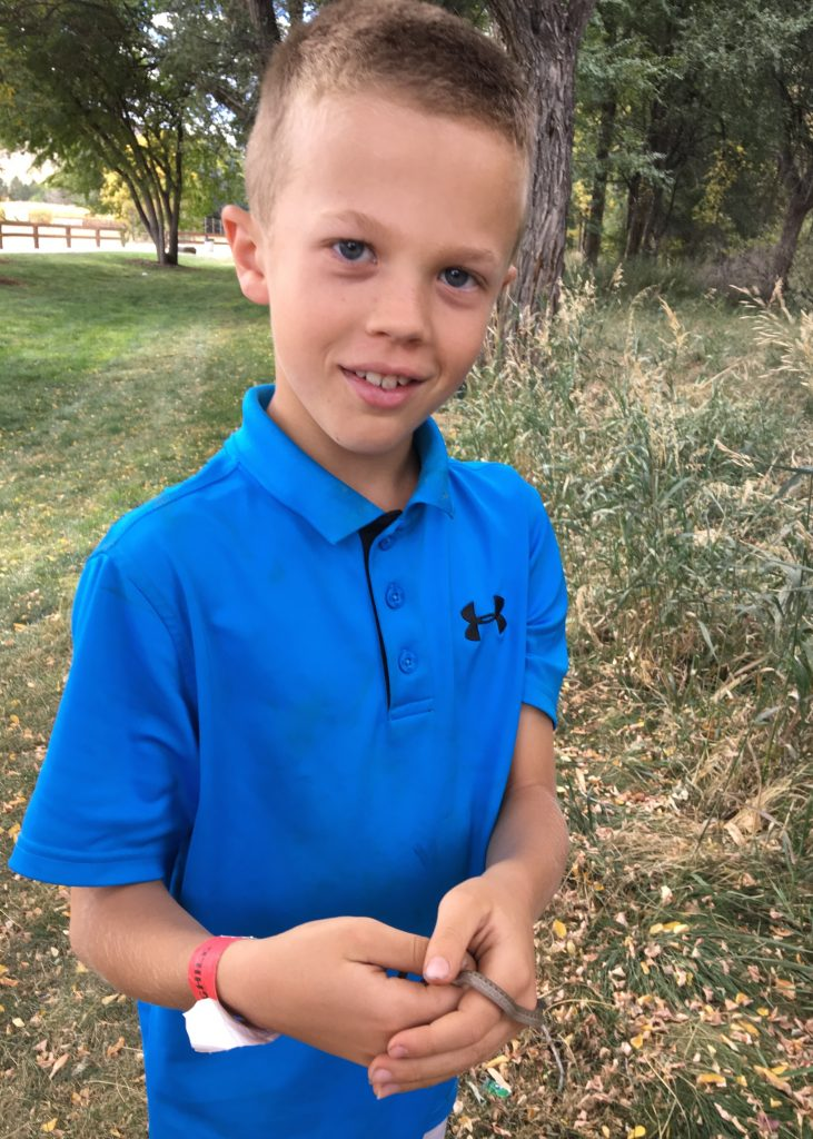 Jude discovered a small snake at the Botanic Gardens in Chatfield