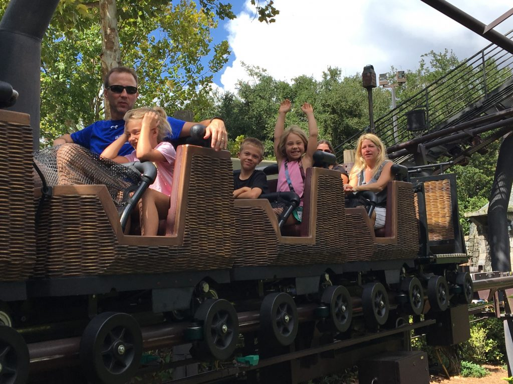 Riding the Hippogriff roller coaster together