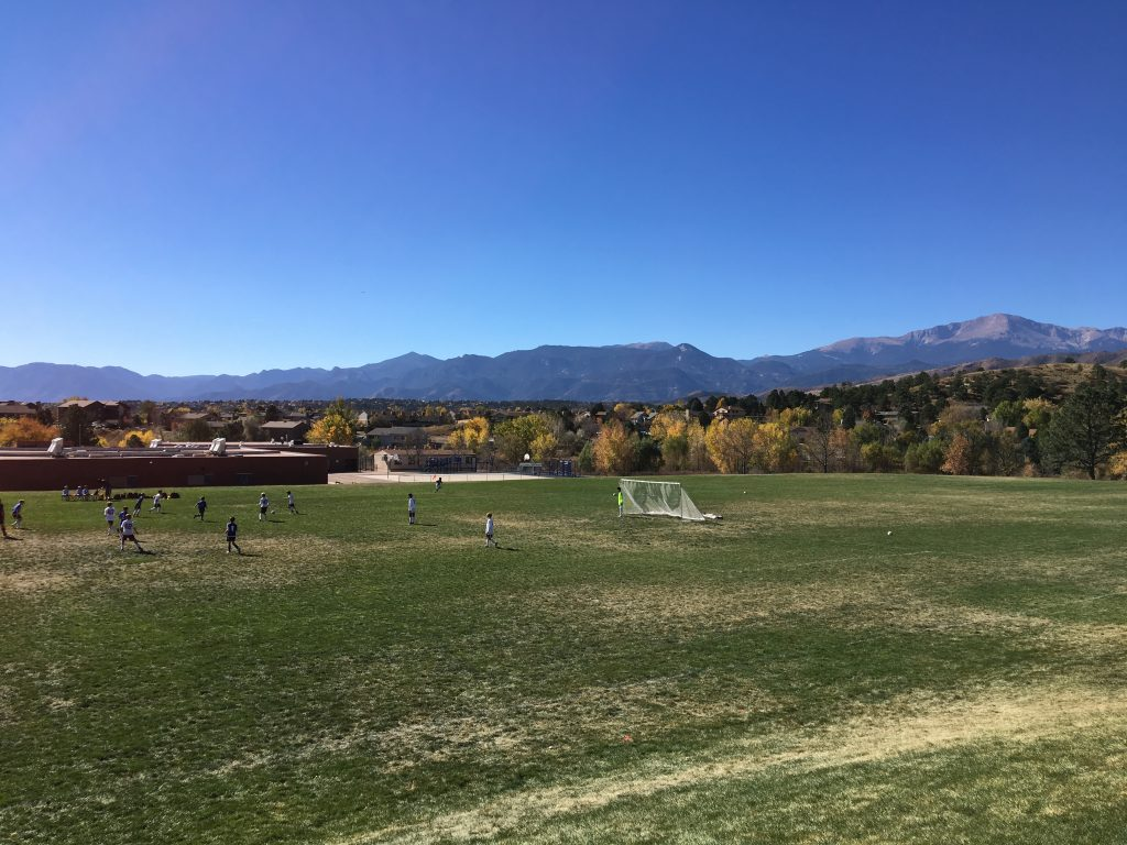 Jude's soccer game in Colorado Springs had a beautiful view of the mountains