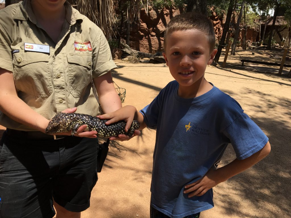 Jude getting friendly with a large Australian lizard