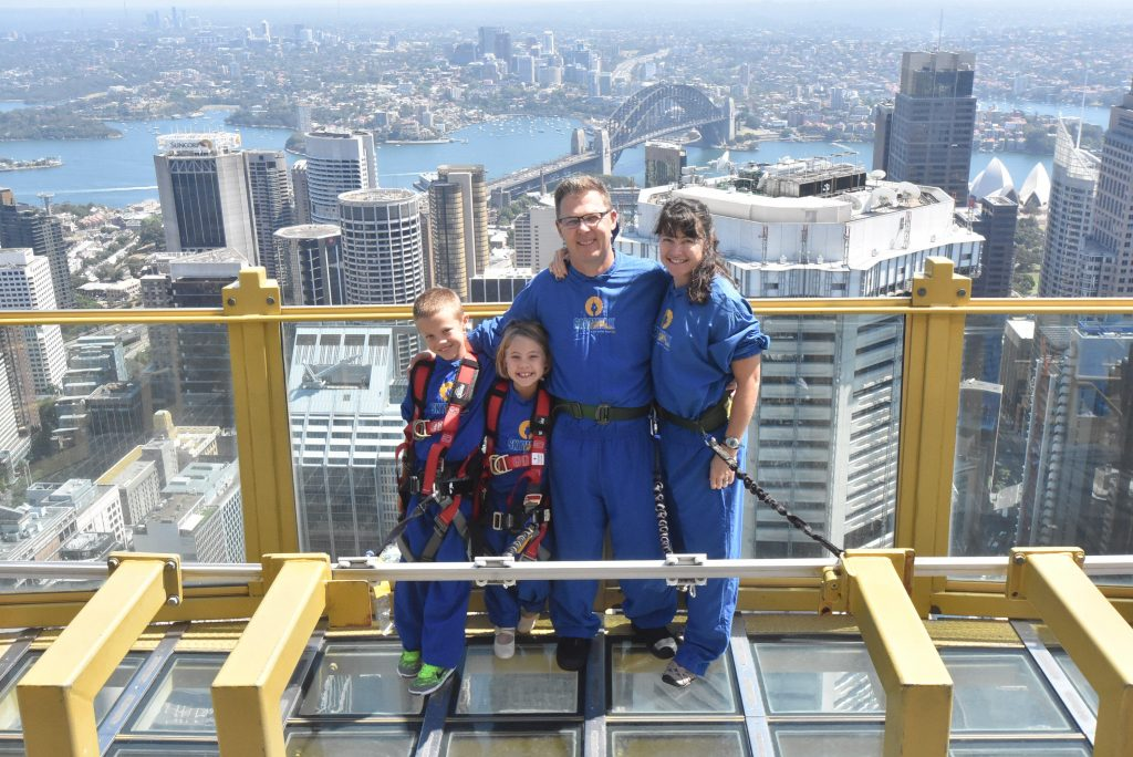 On the outdoor observation deck at Sydney Tower 900 feet up