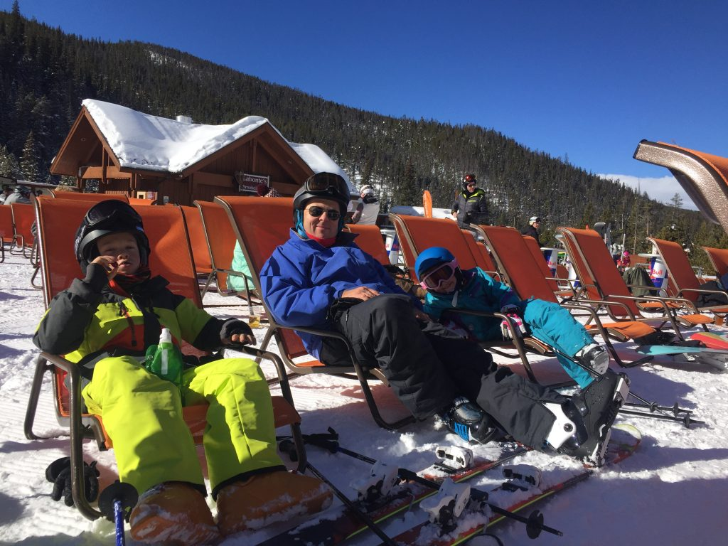 Taking a break during a great Christmas Eve ski day in Keystone