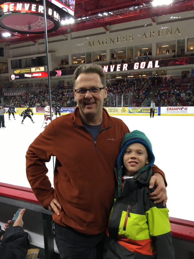 Jude and I had front row seats to the DU hockey game