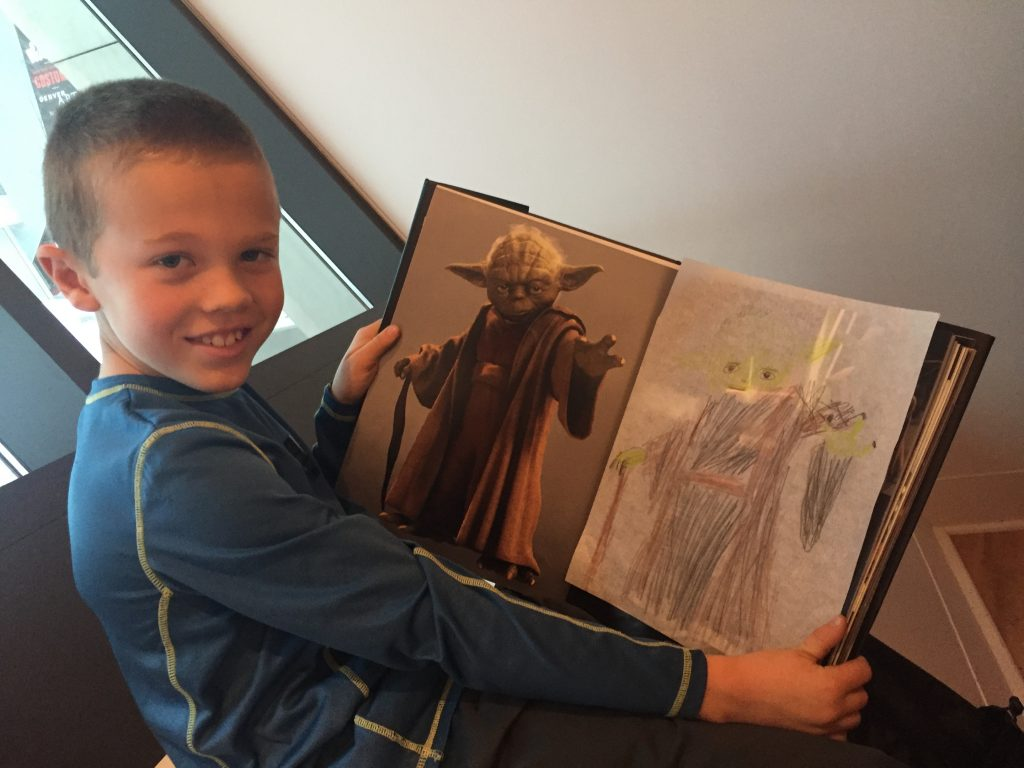 Jude with his drawing of Yoda