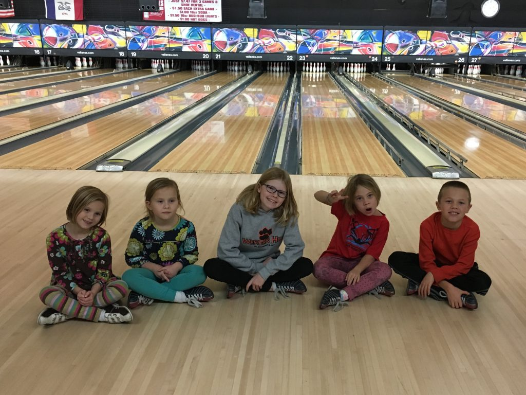 All the cousins go bowling