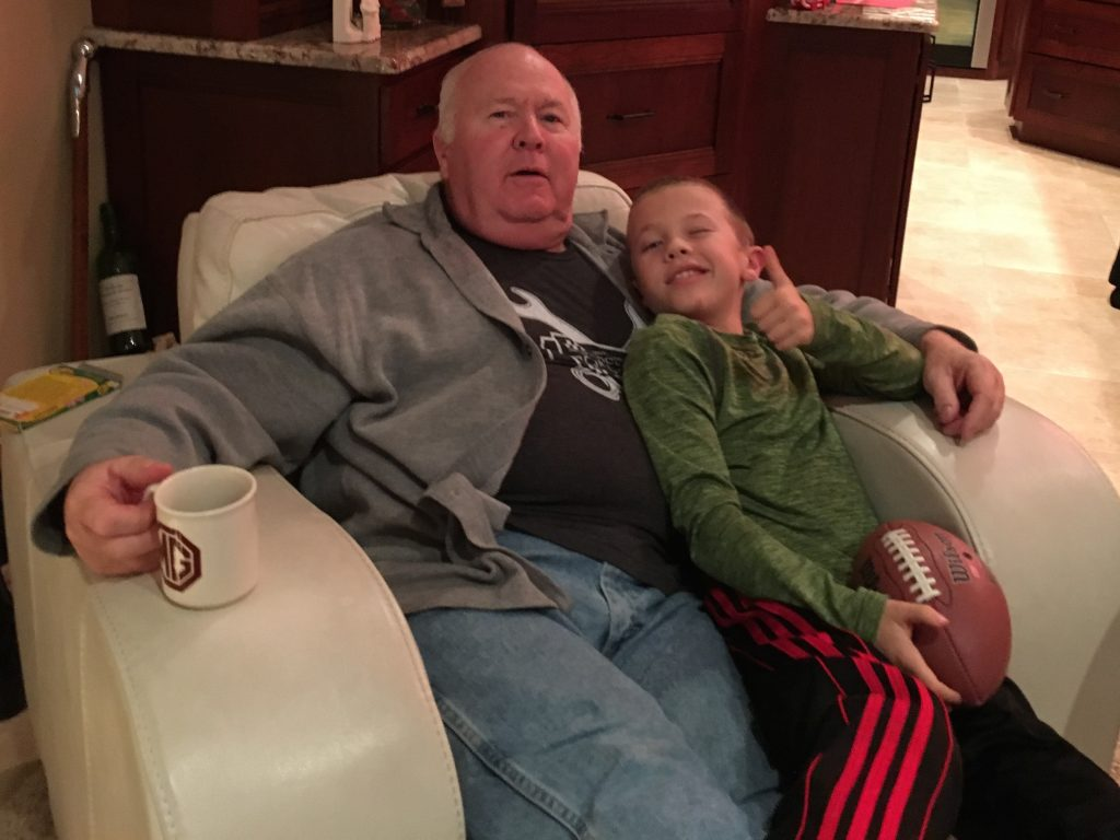 Grandpa and Jude watching some football on New Year's Eve