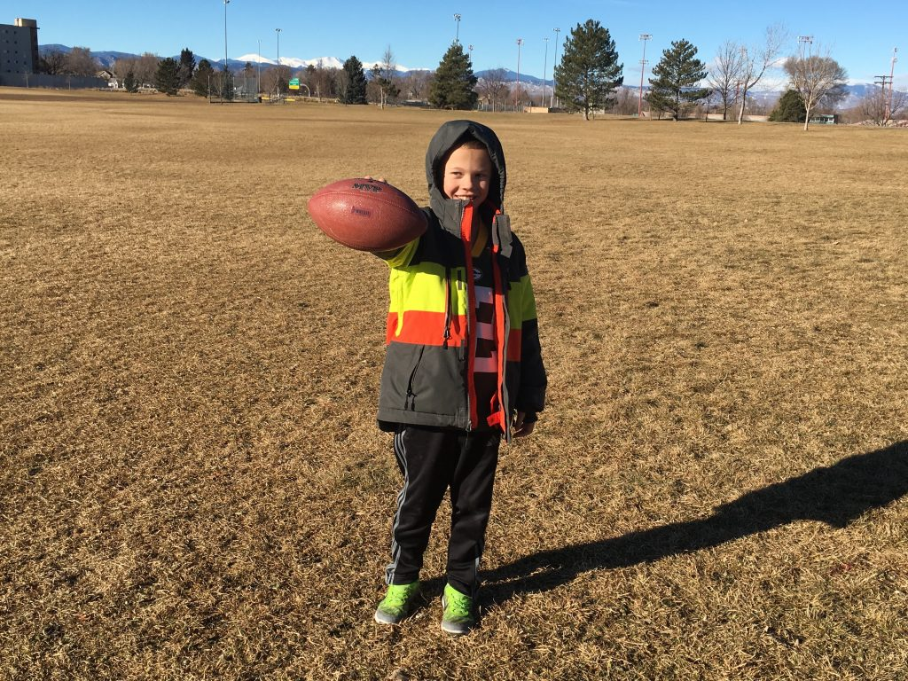 A cold morning at the park was perfect for burning off some nervous energy playing football