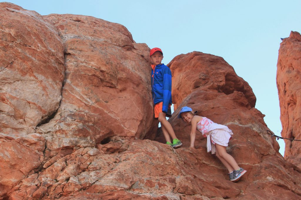 Jude and Anna love to climb on the rocks