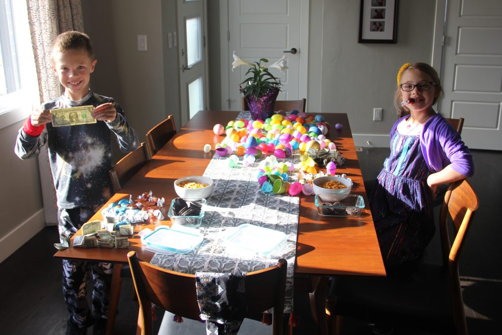 All the Easter Eggs lay open on the dining room table