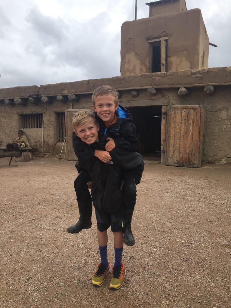 Jude and one of his school friends at Bent's Fort