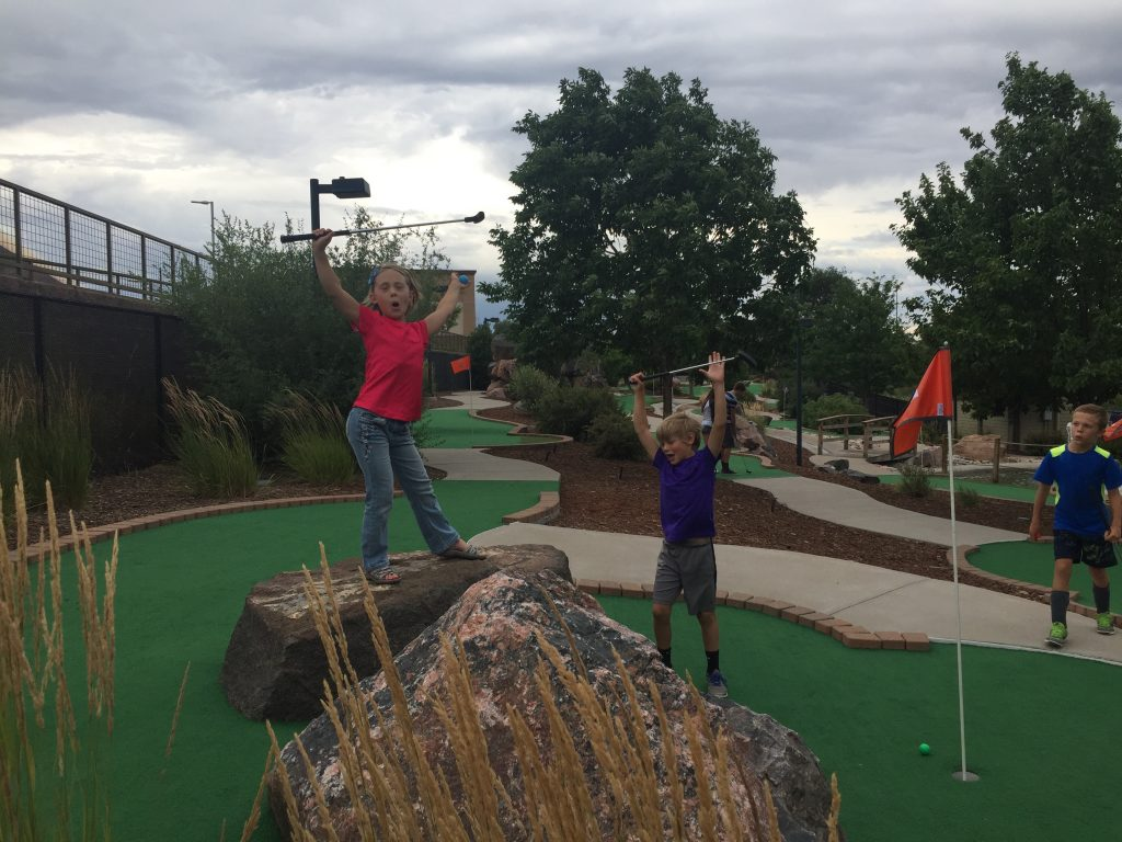 Playing mini golf with Reed