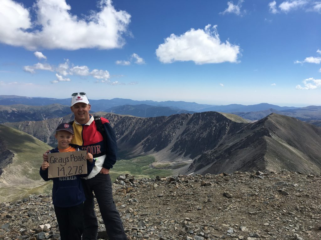 On the top of Grays Peak, the first time we summited