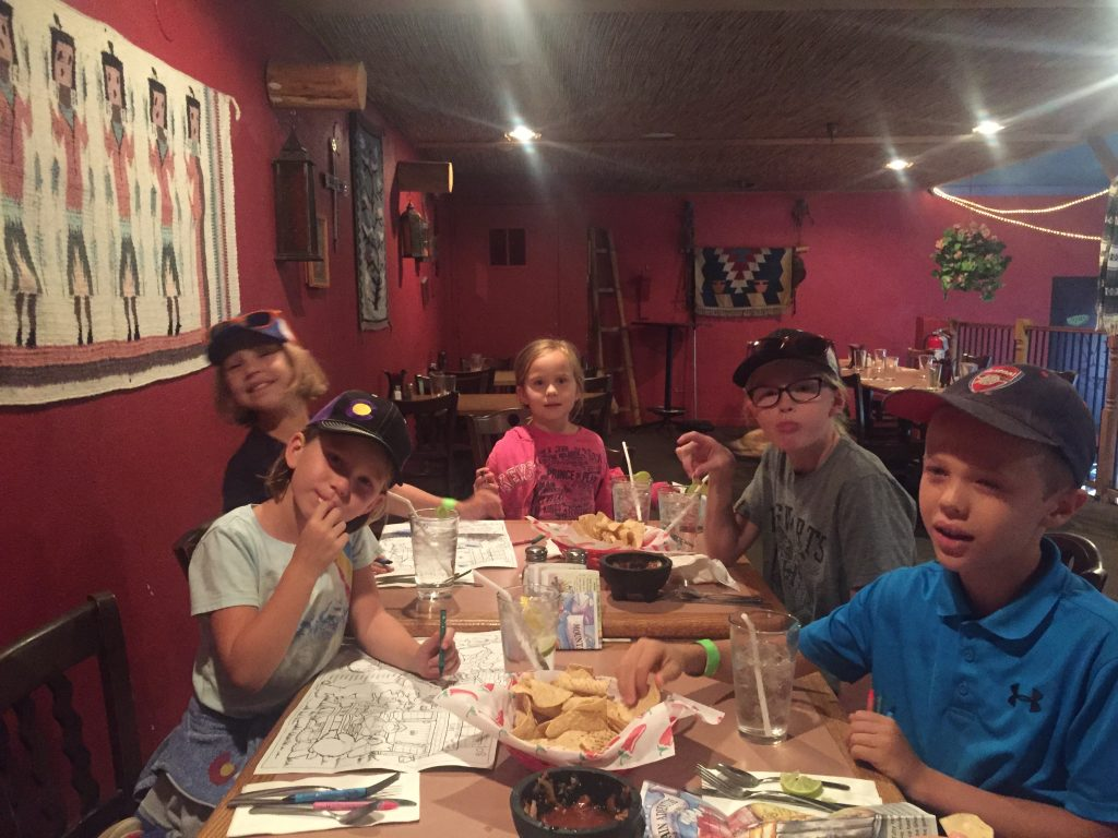 The kids enjoying their Mexican food