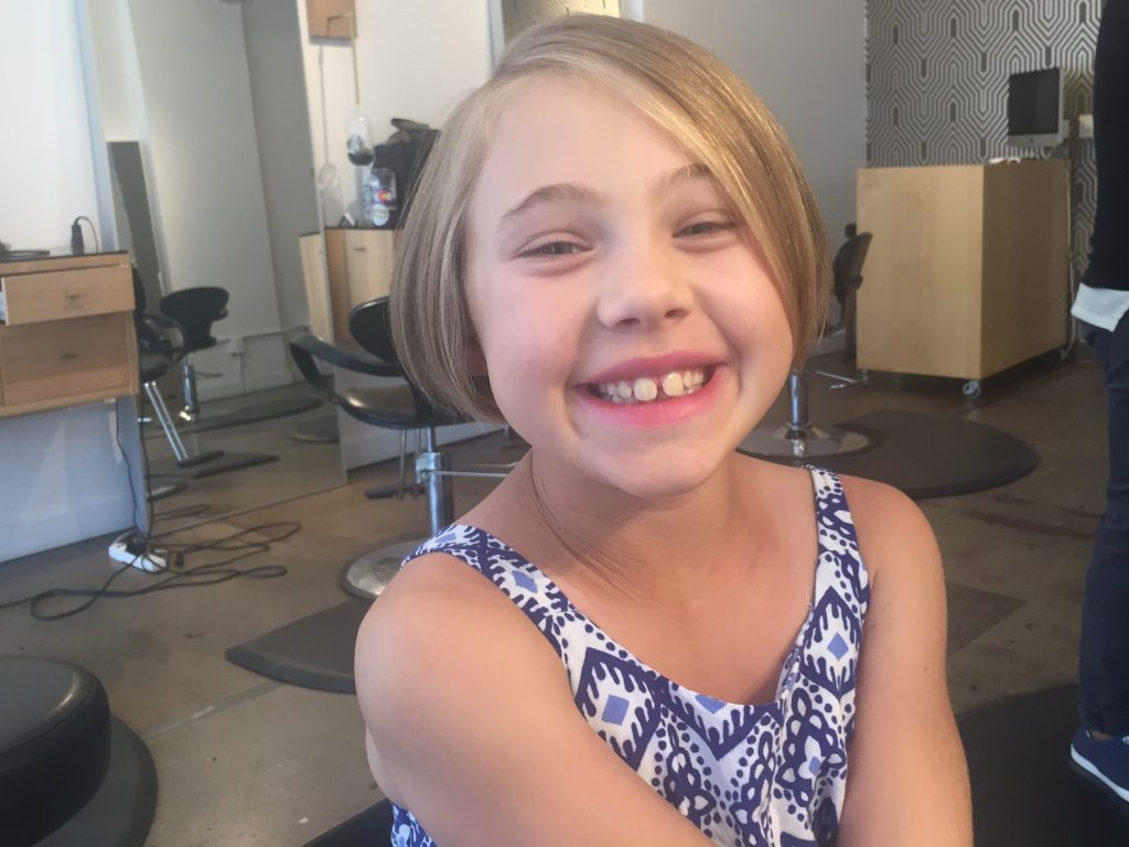Anna showing off her new haircut