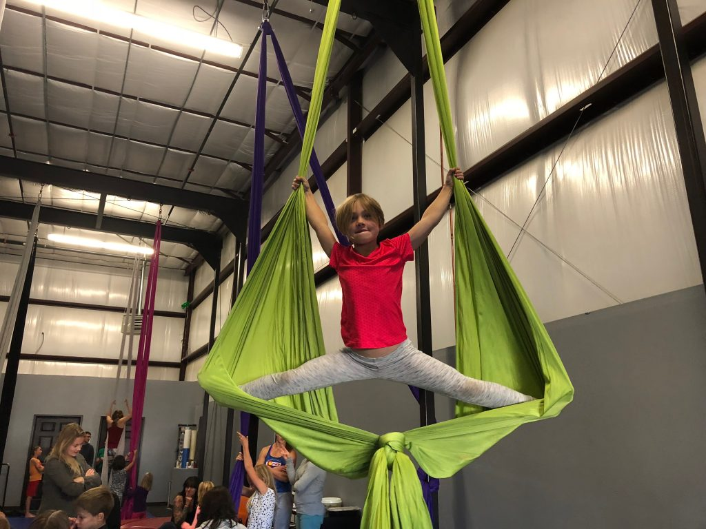 Anna doing Aerial Gymnastics at the birthday party