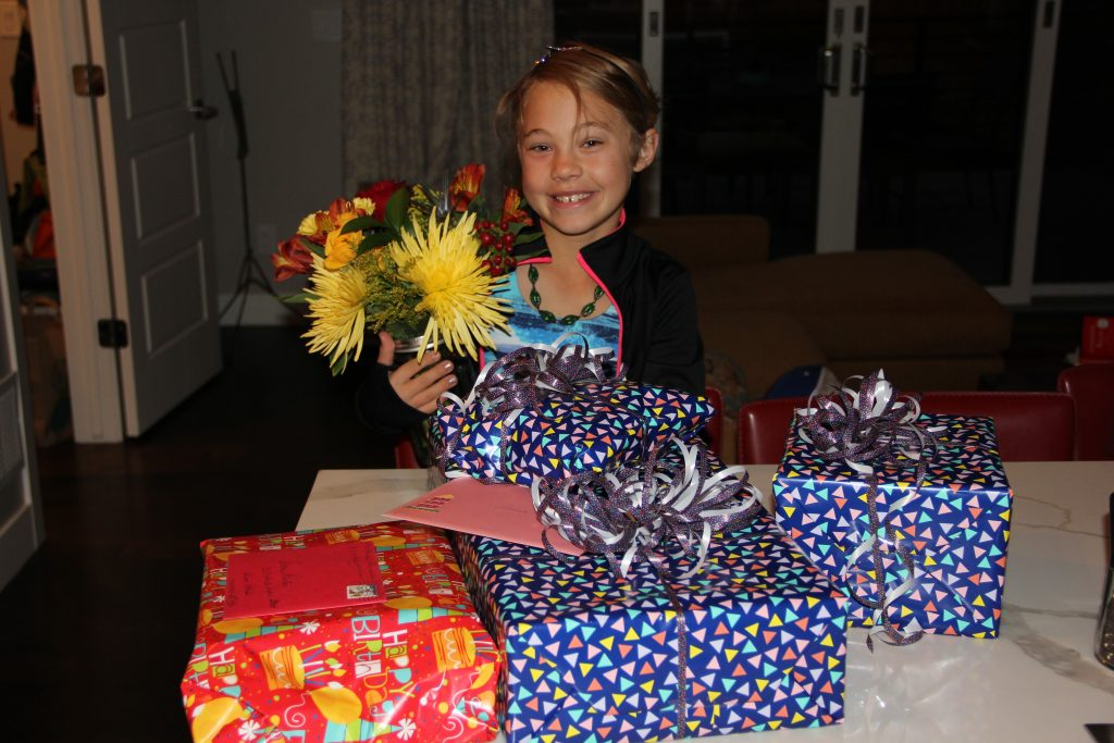 Anna woke up early on her birthday and was greeted with lots of presents