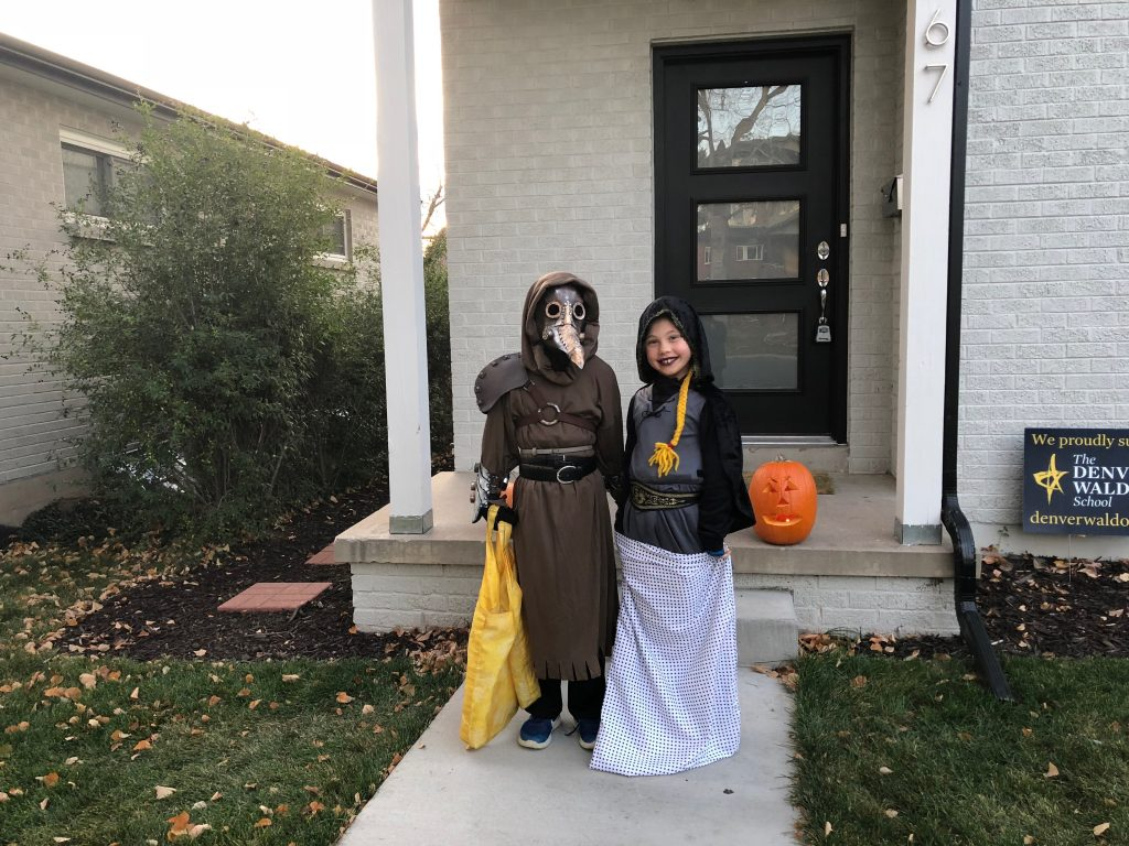 Reed and Anna about to go Trick or Treating in our neighborhood