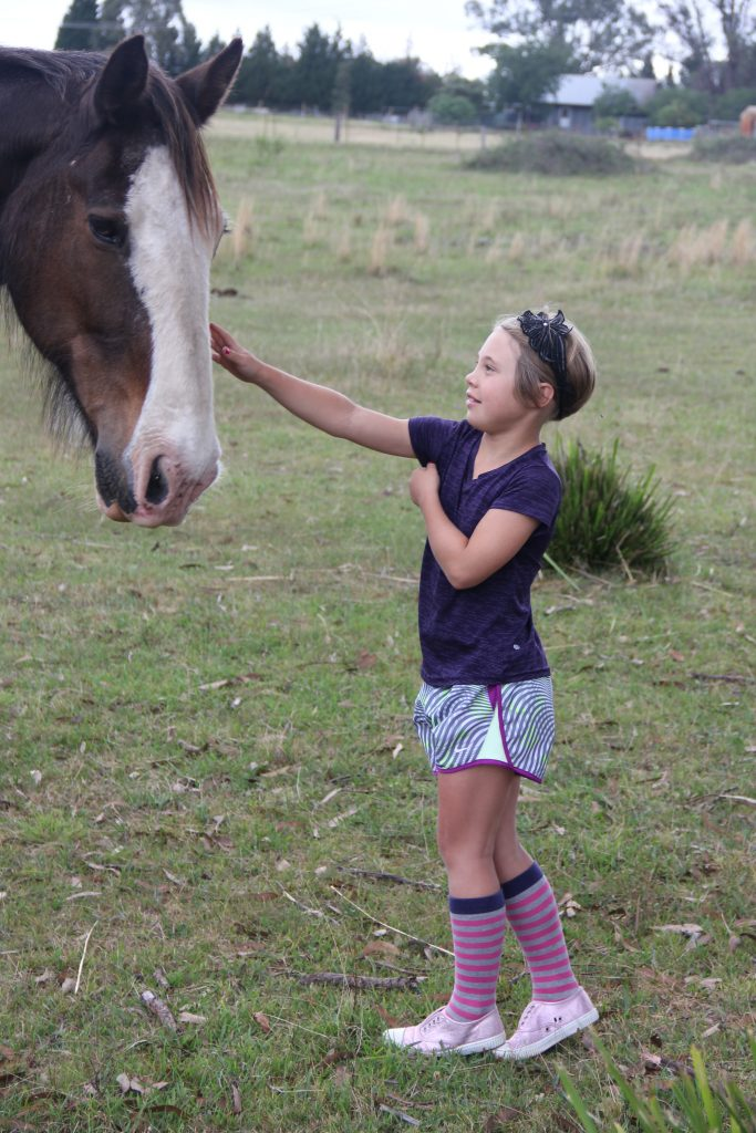 Anna getting friendly with one of Robyn and Mark's horses