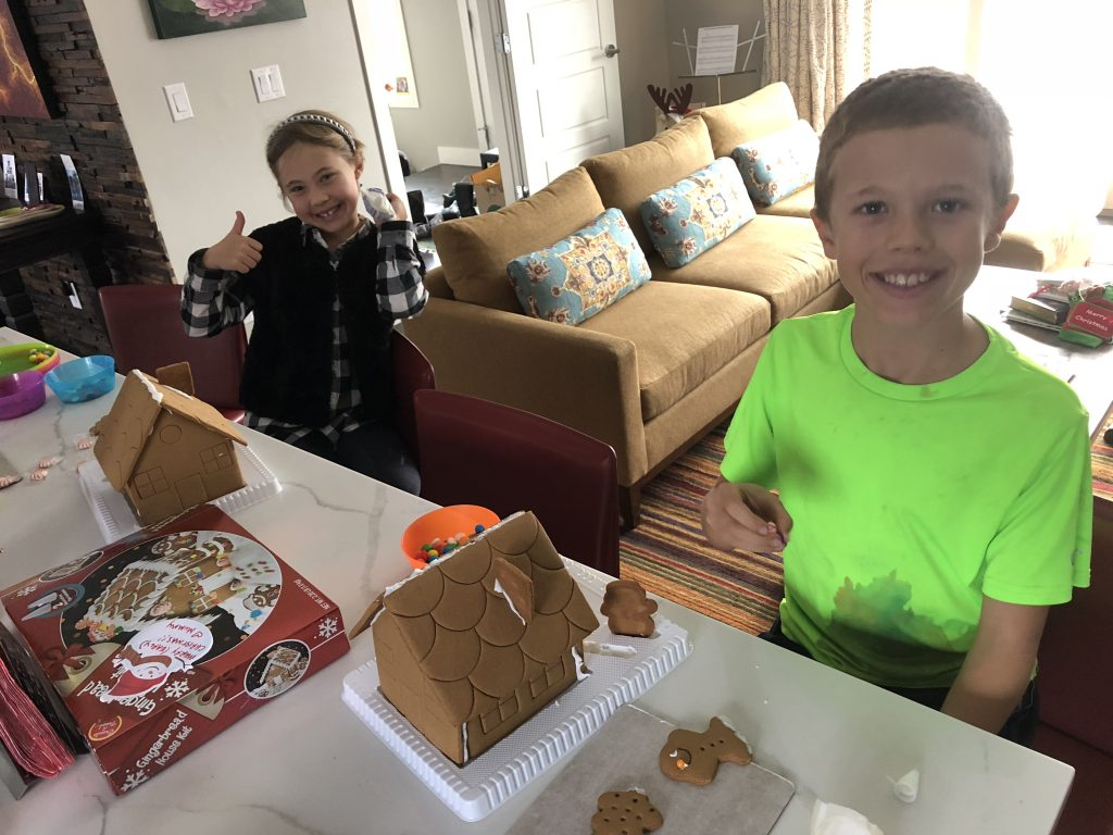 First afternoon of winter break was spent decorating gingerbread houses