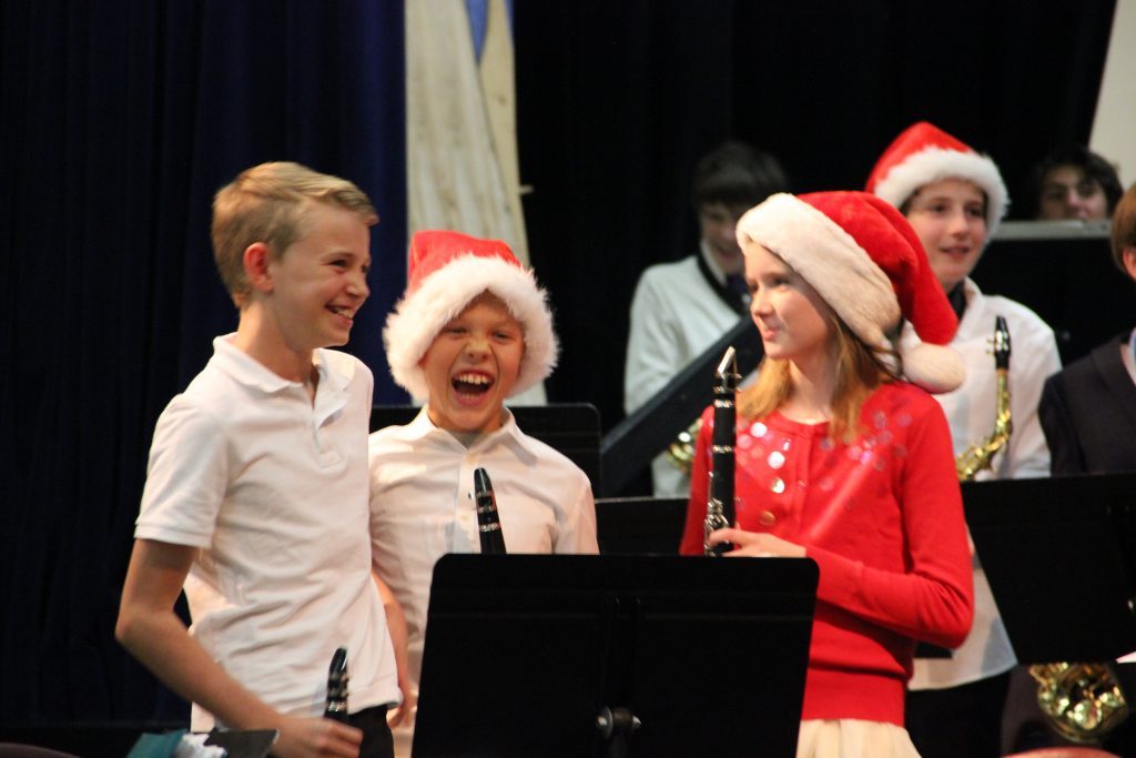 Jude having a blast after playing in his 5th grade Christmas concert