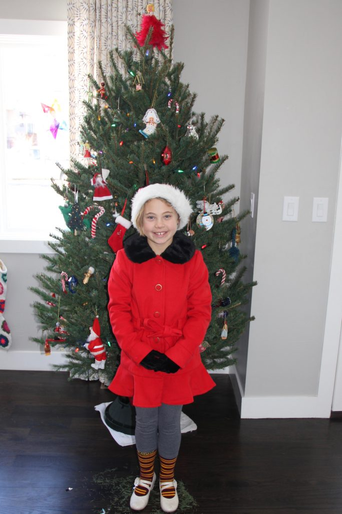 Anna with her beautiful new red coat she got for Christmas