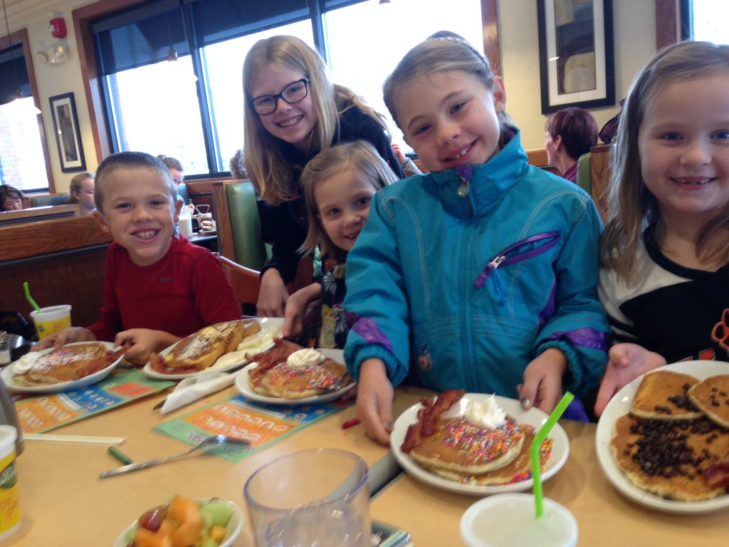 The regular cousins trip to Perkins for breakfast