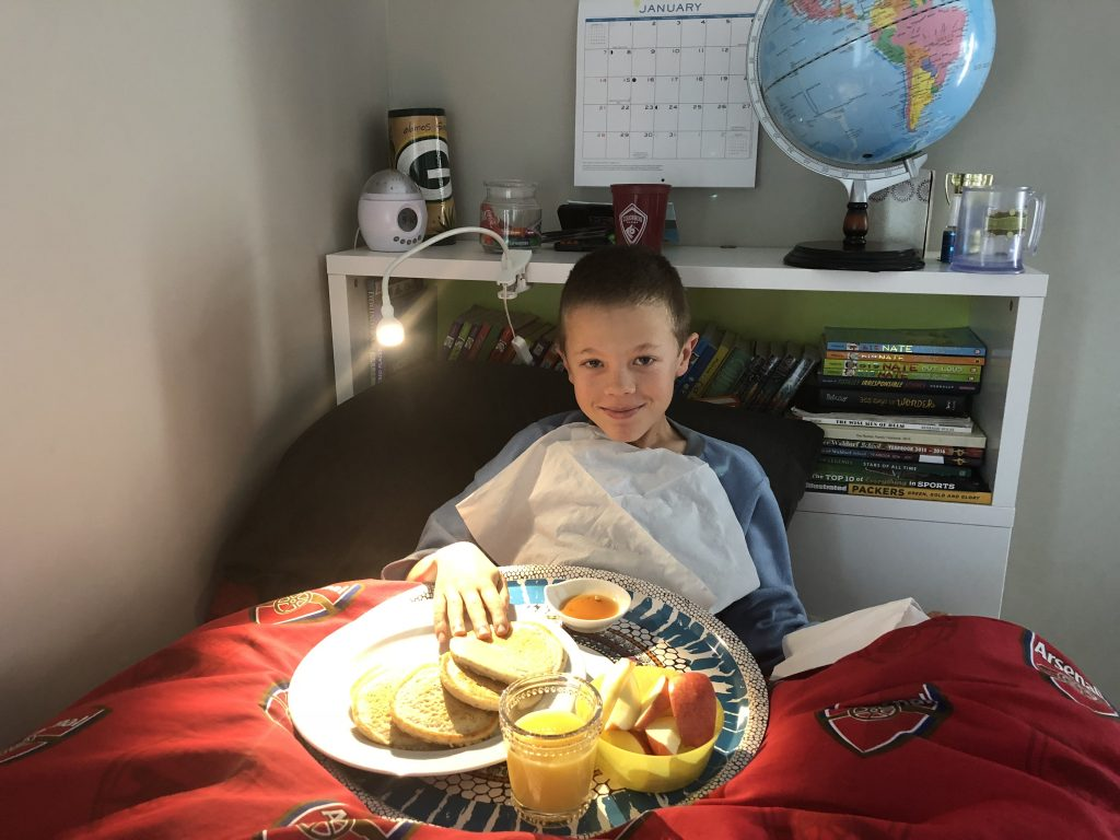 Marcy served Jude breakfast in bed for the first time