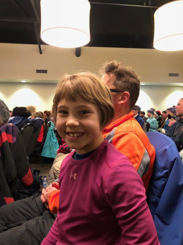 At the medal presentation for the ski race