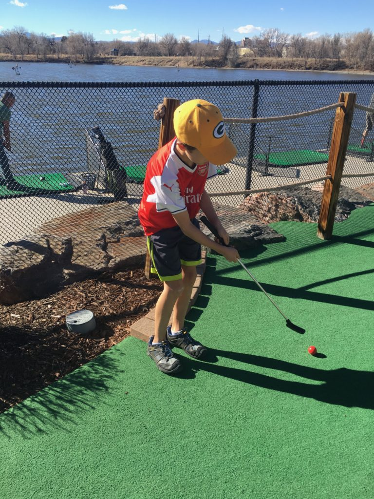 A game of putt putt on a mid-February day in Denver